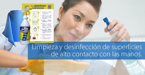 Desinfectante dual para superficies de alto contacto con las manos.
